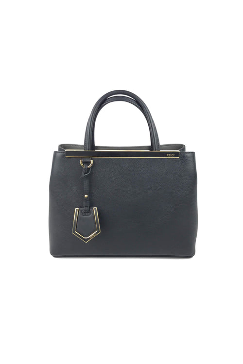 4d033a70e6d6 Black Grained Leather Petite Sac 2Jours Elite Tote Bag W  GHW + Extra  Shoulder Strap
