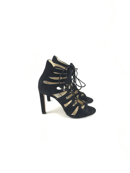Black Suede Leather Hitch Strappy Lace-Up Cage Open Toe Heeled Sandals