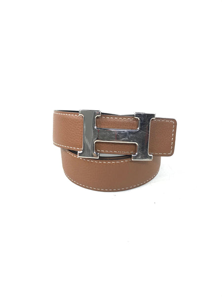 Reversible Black Swift Leather/Gold Clemence Leather H Belt W/PHW