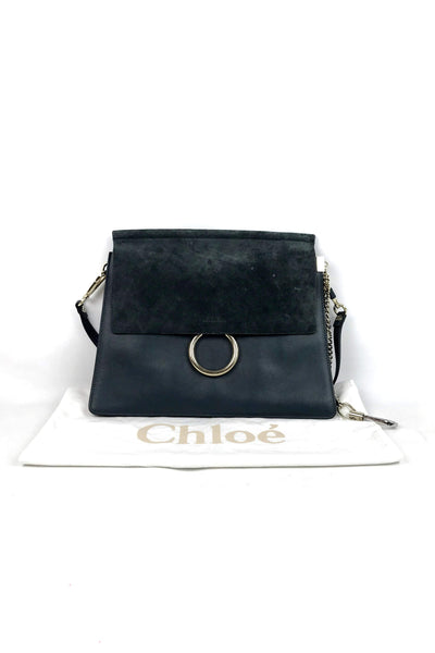 Cloudy Blue Leather/Suede Medium Faye Bag
