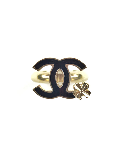 CC Black Enamel Clover Ring