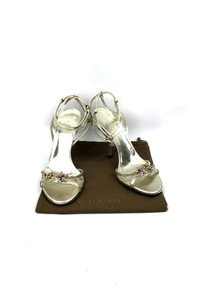 Gold Metallic Heeled Sandals W/ Crystal Butterfly, Flower and Lady Bug Accents