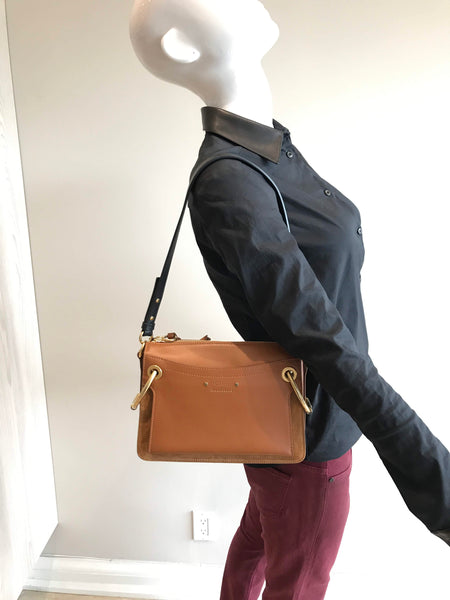 Caramel Smooth Leather/Suede Small Roy Bag W/ GHW