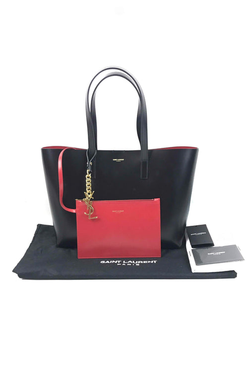 Black Small East-West Tote W/ Red Interior W/ Removable Small Coin Pouch W/ GHW