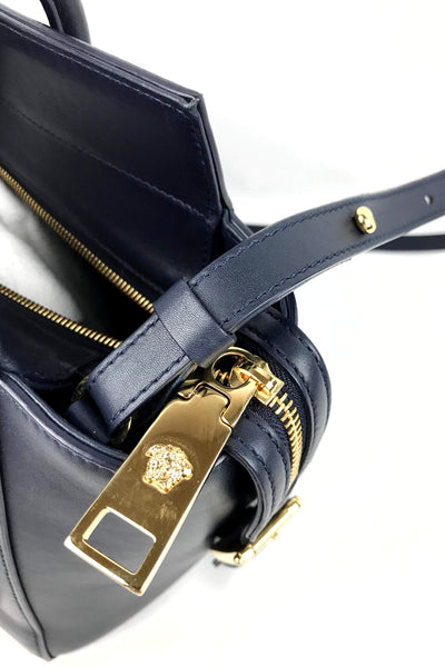 Navy Leather Large Signature Lock Tote