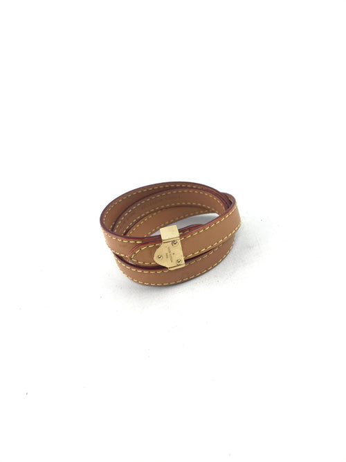 Box It Wrap Bracelet In Camel Colour Smooth Leateher W/GHW