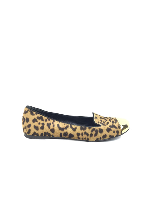 Pony Hair Leopard Print Flats W/ Gold Metal Captoe