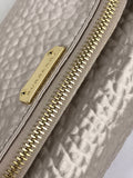 Champagne/Beige Textured Fabric/Silk Fold Over Clutch Bag W/LGHW