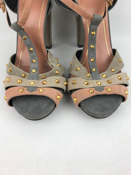 Grey/Pink/Beige Suede Studded Sandals