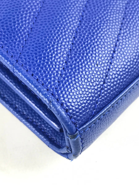 Electric Blue Monogram Chain On Wallet Envelope Bag-SALE PENDING