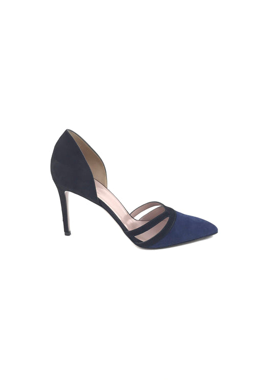 Black/Navy Suede Pointed Toe D'Orsay Pumps