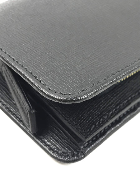 Black Grained Leather Compact Wallet
