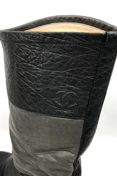 Black/Brown Grained Leather Boots