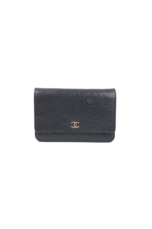 Black Lambskin Camellia Wallet On Chain WOC W/ SHW