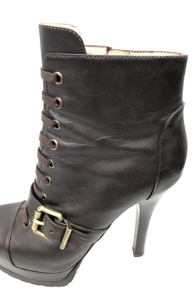 Brown Leather Ankle Boots w/ Belt Accents w/ AGW
