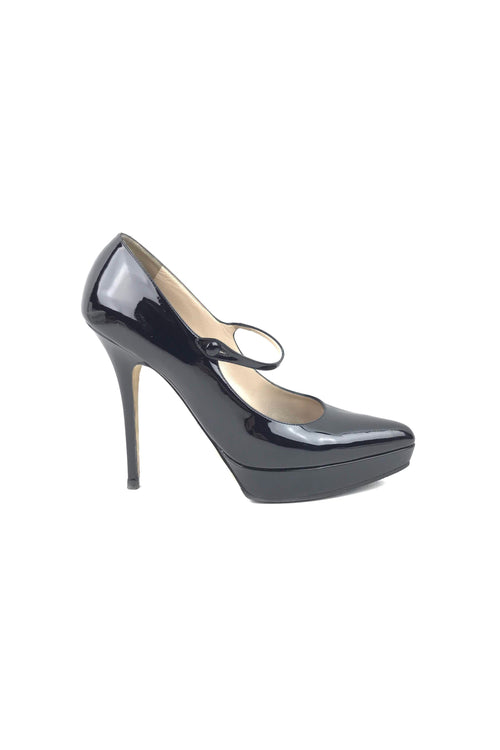 Paris Black Patent Leather Lauren 100 Mary-Jane Pumps