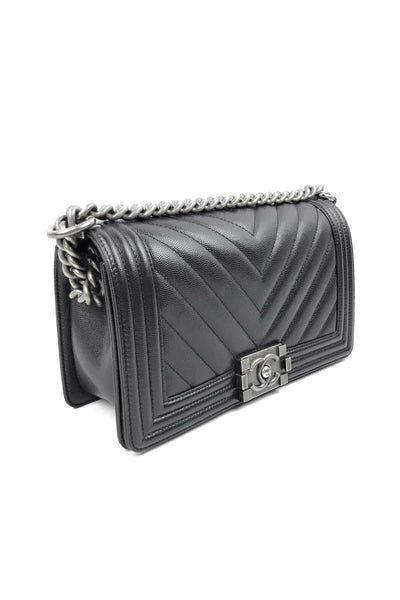 Black Caviar Chevron Old Medium Boy Bag - Haute Classics