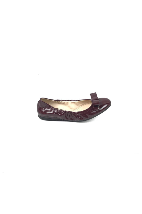 Burgundy Patent Leather Bow Ballet Flats W/ SHW