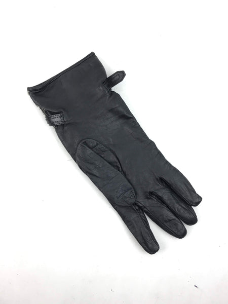 Black Leather/Check Tweed Gloves - Haute Classics