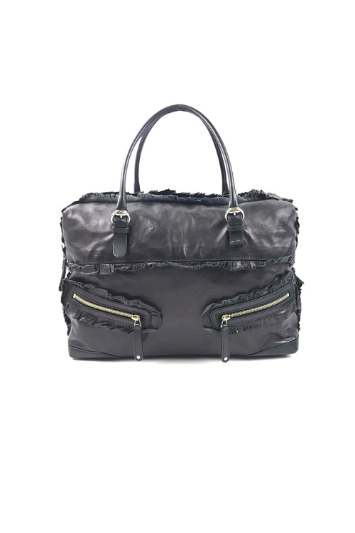 Black Smooth Leather Sabrina Boston Bag W/ LGHW