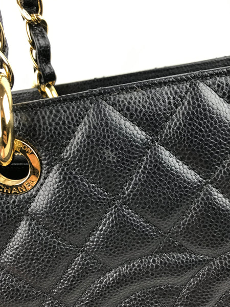 Black Quilted Caviar Grand Shopping Tote GST XL W/ GHW