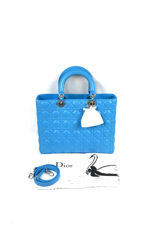 Turquoise Large Lady Dior w/ Strap