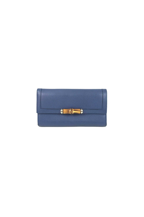 Blue Grained Leather Continental Wallet W/ Bamboo Accent & GHW