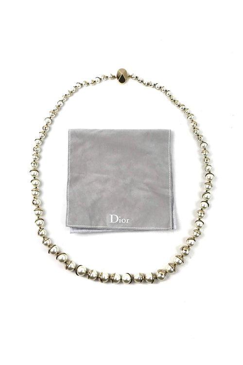 CD Mise En Dior Tribales Faux Pearl Necklace W/ GHW