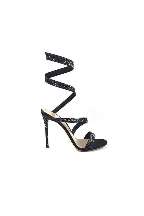 Black Satin Strass Opera Pumps