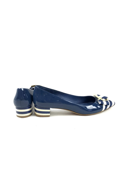 Navy Patent Leather Striped Kitten Heels w/ GHW