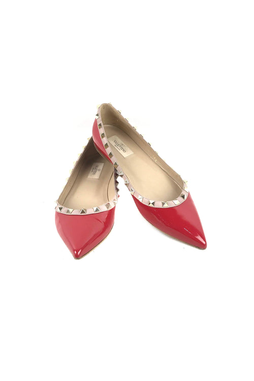 Pure Red/Poudre Patent Leather Rockstud Flats