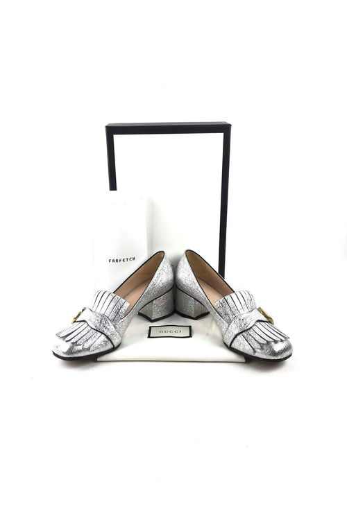 Metallic Silver Leather Marmont Mid Heel Pumps