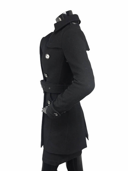 Black Virgin Wool Double Breasted Belted Trench Coat W/SHW