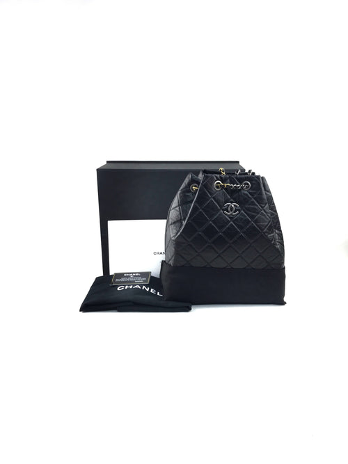 Black Crinkled Quilted Calfskin Gabrielle Backpack W/RHW/GHW/SHW