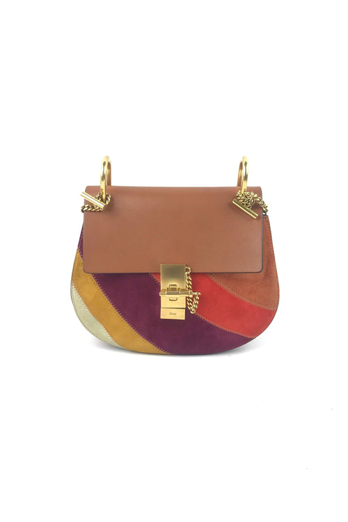 Caramel Leather & Multicolour Suede Patchwork Small Drew Bag W/ GHW