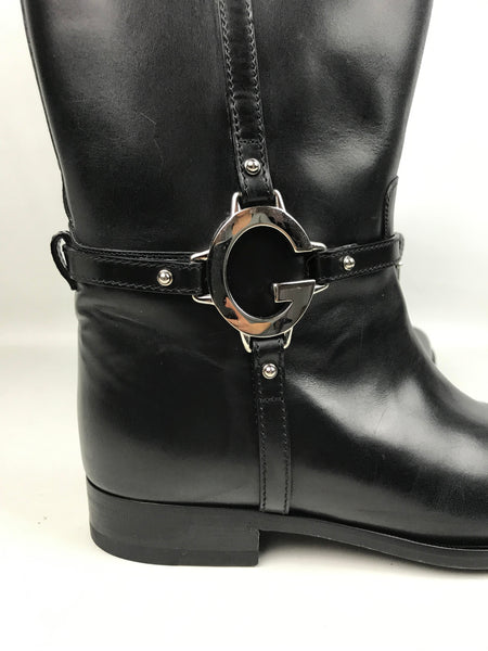 black smooth leather riding boots