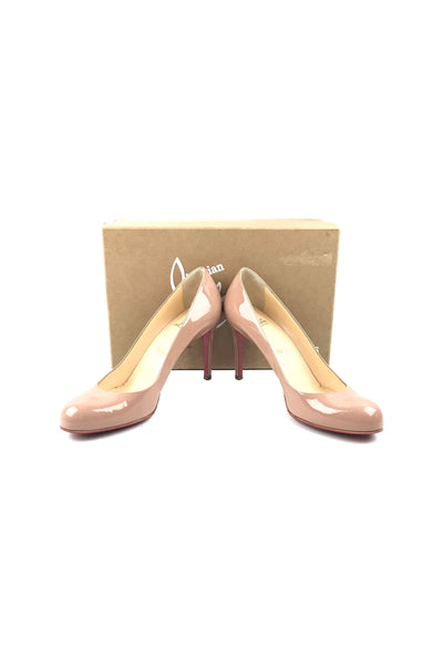 new concept 612d0 c558a Nude Patent Leather Simple 85 mm Pumps