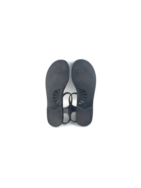Black Quilted Jelly Thong Sandals W/Pearl CC Accent