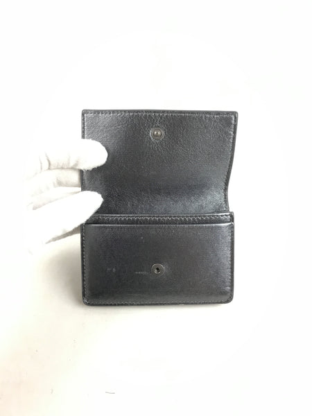Metallic grey Intrecciato Foldover Card Holder