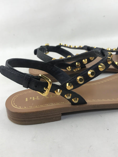 Black Saffiano Leather Studded Sandals W/GHW