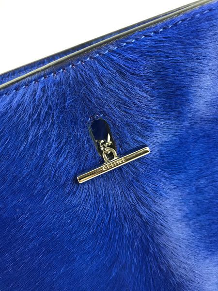 "Cobalt Blue Pony Hair ""New Shoulder"" Bag W/ SHW"