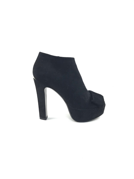 Black Suede Open Toe Ankle Booties W/ Accent Bow