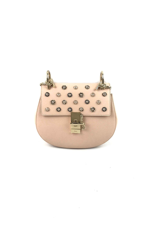 Light Pink Small Drew Bag W/ Crystal Flower Detail W/ GHW