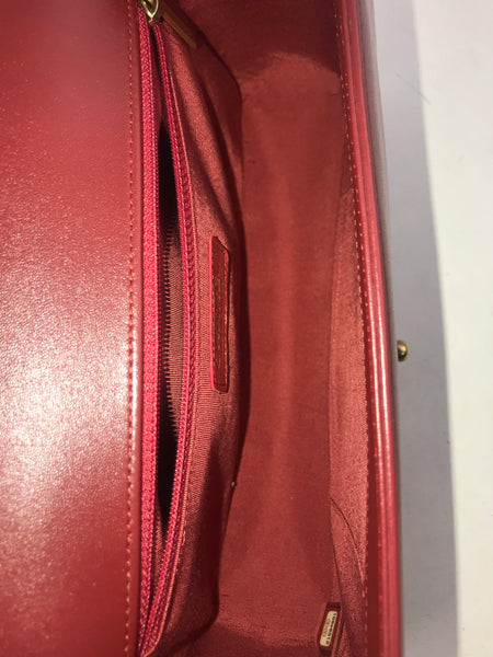 Red Quilted Lambskin New Medium Boy Bag W/AGHW