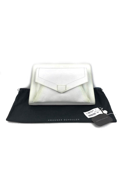 Off White Grained Leather PS13 Clutch Bag
