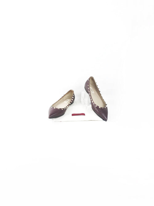 Burgundy Grained Leather Spiked Pointed Toe Ballet Flats