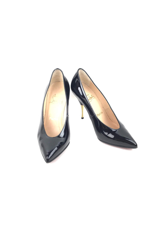 Black Patent Leather Lola 100 Pumps W/ Gold Heels