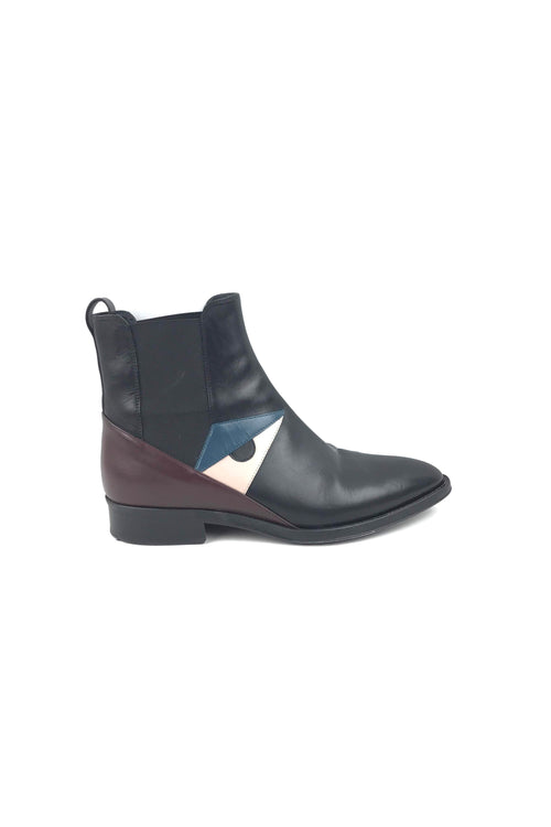 Black/Burgundy Leather Bug Monster Chelsea Boots