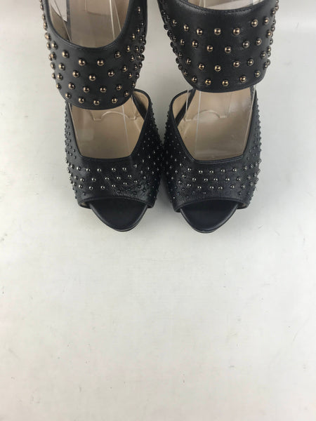 Black Leather Studded Open Toe Platform Heeled Sandals