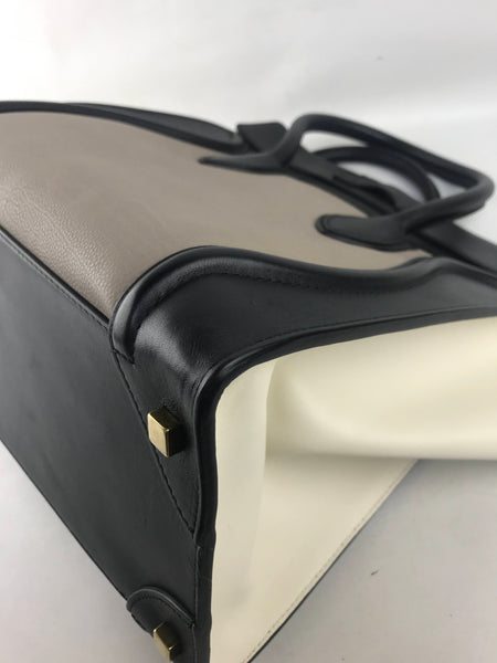 Black/Beige/Cream Grained/Smooth Leather Mini Luggage W/AGHW